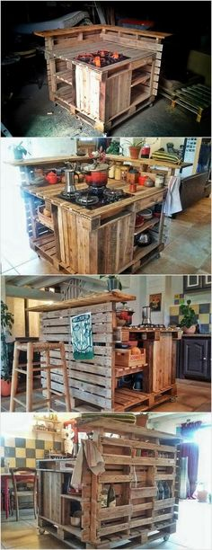 Pallet kitchen island table is constructed using creative techniques with low cost. It is not a traditional dinning set but you can use it as table in your kitchen to place kitchen utensils.