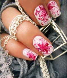 Marble effect nail art design