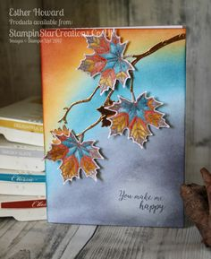 SU ~ Colorful Seasons: Stampin Star Creations, Change of Direction Leaf Cards, Thanksgiving Cards, Thanksgiving Snacks, Stamping Up Cards, Marianne Design, Card Tutorials, Fall Cards, Watercolor Cards, Sympathy Cards