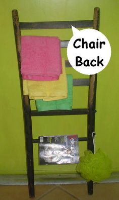 Salvaged chair back repurposed into a bathroom storage towel and magazine rack; lean against the wall like a ladder.  SOLD.  Salvage, repurpose, recycle, upcyle, diy!  For ideas and goods shop at Estate ReSale & ReDesign, Bonita Springs, FL