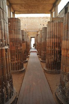 Columns in Entrance to Courtyard  Djoser step pyramid Saqqara  Egypt