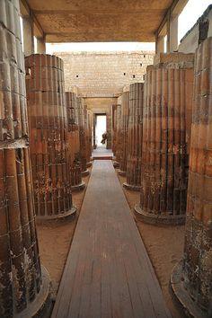 Columns in Entrance to Courtyard  Djoser step pyramid Saqqara  Egypt