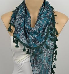 ON SALE  Women's Floral Scarf Green Scarf Fringe by LIFEPARTNER, $15.00
