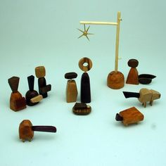 Nativity Set  natural woods by bunnywithatoolbelt on Etsy