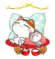 Gojill The Meow Christmas & New Year Cute Love Gif, Cute Cat Gif, Animated Emoticons, Animated Gif, Cartoon Gifs, Cartoon Images, Gif Kawaii, Gamer Cat, Cute Asian Babies