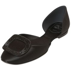 ROGER VIVIER 10mm Chips Satin Swarovski D'orsay Flats ($975) ❤ liked on