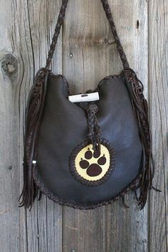 Chocolate handbag with a beaded wolf paw totem  by thunderrose    321.00