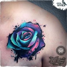 This Rose tattoo is an absolute gorgeous piece of art! --- Unique Rose Tattoo by Ewa Sroka – Warsaw, Poland Herz Tattoo, Cover Tattoo, Piercing Tattoo, Get A Tattoo, Flower Cover Up Tattoos, Chest Tattoo Cover Up, Tie Dye Tattoo, Rose Chest Tattoo, New Tattoos
