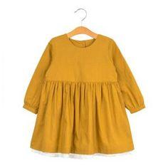 Delsey Dress – mustard muslin – Little Cotton Clothes Cotton Tights, Herringbone Fabric, Crochet Trim, Smock Dress, Blouse, Smocking, Mustard, Kids Fashion, Cotton Fabric