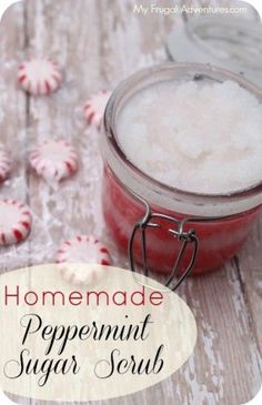 Homemade Peppermint Sugar Scrub Recipe. Easy holiday gift idea!