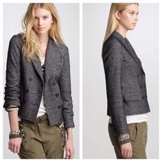 J. Crew thandie wool blend jacket Looks like it has never been worn.  Made of 55% cotton, 41% wool, 4% nylon.        j J. Crew Jackets & Coats