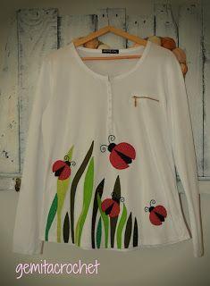 GEMITA CROCHET : Camiseta decorada mariquitas, patchwork