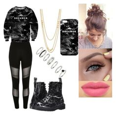 """""""relax😧"""" by msroro12 ❤ liked on Polyvore featuring River Island, Mr. Gugu & Miss Go, Dr. Martens and Gorjana"""
