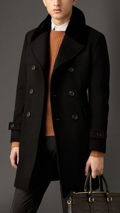 Felted Virgin Wool Blend Coat With Mink Topcollar