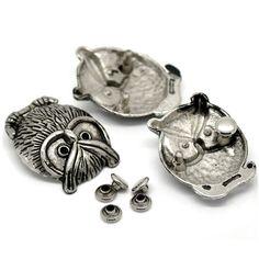 100Sets Wholesale Silver Tone Owl Birds Classic Spikes Rivets Studs Spots 3.5x2.8cm