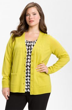 Sejour Two Pocket Girlfriend Cardigan (Plus) available at #Nordstrom - Blue Ocen