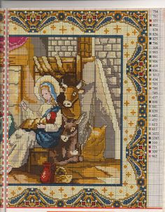 Cross-stitch Nativity, part with the color chart: Cross Stitch Angels, Cross Stitch Art, Counted Cross Stitch Patterns, Cross Stitch Designs, Cross Stitch Embroidery, Quilt Stitching, Cross Stitching, Religious Cross, Christmas Embroidery