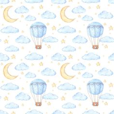 Watercolor seamless pattern - air balloon, moon and stars. ideas for a children's room Balloon Illustration, Baby Illustration, Baby Scrapbook, Scrapbook Paper, Frame Floral, Baby Icon, Baby Boy Themes, Scrapbook Background, Baby Posters