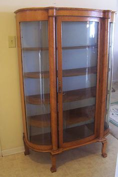 Golden Oak Serpentine Curved Glass China Cabinet... a must for my dining room!