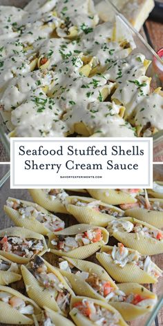 Lower Excess Fat Rooster Recipes That Basically Prime Seafood Stuffed Shells In A Sherry Cream Sauce Is A Dinner Fit For A Special Occasion With Buttery Crab, Tender Shrimp And A Mild Cream Sauce. Fish Recipes, Seafood Recipes, Gourmet Recipes, Dinner Recipes, Cooking Recipes, Healthy Recipes, Cooking Ideas, Healthy Food, Stuffed Pasta Shells