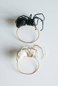 black spider bracelet fiberart soft sculpture Black Spider, Soft Sculpture, Vintage Fabrics, Bracelet Making, Silver Rings, Bracelets, Handmade, Gifts, Etsy