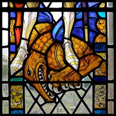 St Mary Haddenham  Dragon stained glass detail by Reginald Otto Bell 1949