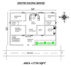 South facing House plan as per vastu shastra, Autocad Drawing file details - Cadbull 30x40 House Plans, 2 Bedroom House Plans, Dream House Plans, House Rooms, Small House Design, Home Room Design, South Facing House, East Direction, Indian House Plans