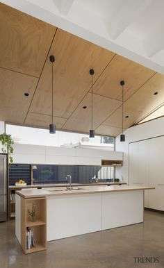 Plywood ceiling with seams, black canned lights, pendants & fans. : Plywood ceiling with seams, black canned lights, pendants & fans. Storage shelves added to end/under bar & kitchen Plywood Ceiling, Plywood Walls, Home Design, Home Interior Design, Interior Architecture, Australian Architecture, Interior Colors, Interior Paint, Home Decor Kitchen