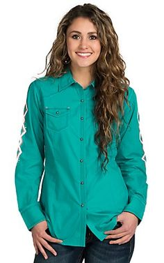 c036f394 Ariat Ismay Turquoise Embroidered Long Sleeve Western Snap Shirt |  Cavender's Cowgirl Shirts, Western Shirts