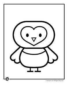 heart faced owl coloring page cute little guy to have on hand for kiddos who
