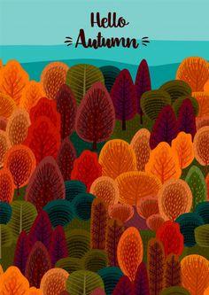 Hello autumn design with autumn forest illustration Premium Vector Premium Vector Autumn Forest, Autumn Art, Dark Forest, Forest Drawing, Autumn Illustration, Forrest Illustration, Buch Design, Fall Wallpaper, Hello Autumn