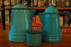 Antique blue enamelware coffee pots & mug.