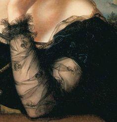 Particolari di opere, terza parte. Carl Joseph Begas: Ritratto di Wilhelmine Friederike Bok (moglie del pittore). Olio su tela, del 1828. Kreismuseum, Heinsberg. Bellissima la manica dell'abito, in velo ricamato nero su nero.