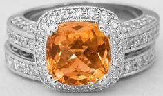 Citrine engagement ring - matching band #Capri #Jewelers #Arizona ~ www.caprijewelersaz.com  ♥