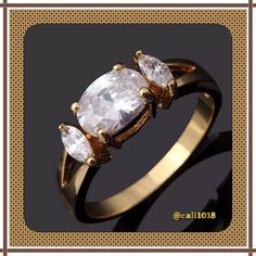 New CZ Yellow Gold Filled Ring Sz 9 Gem Type: Topaz Gem Weight: 4.0 CT Cut: AAA Clear Ring Box: Yes Ring Size: 9 Gem Size: 4 mm*6 mm Metal Type: Yellow Gold Filled  Around Stone: Cz Boutique Jewelry Rings