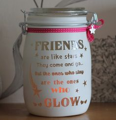 Personalised Glass Jar Love-Lite Jar - Friends are like stars by Itzastickup2010 on Etsy