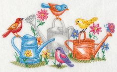 TWEETING IN THE Garden Birds and Watering by EmbroideryExcellence