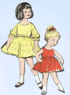 1960s Vintage Advance Sewing Pattern 2811 Sweet Toddler Girls Dress Size 4 23B