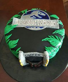 Jurassic World Cake I made for my nephew! I'm so glad he liked it!