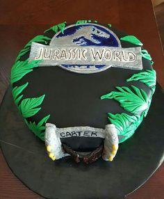Jurassic World Cake I made for my nephew! I'm so glad he liked it!