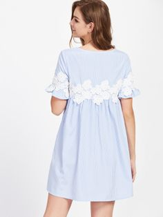 SheIn offers Floral Lace Applique Frill Sleeve Striped Babydoll Dress & more to fit your fashionable needs. Long Sleeve Short Dress, Short Lace Dress, Short Sleeve Dresses, Dress Long, Smock Dress, Blouse Dress, Babydoll Dress, Simple Dresses, Casual Dresses