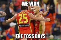 We didn't win the game. but we won the coin toss Aussie Memes, Coin Toss, Football Memes, Crows, Golf, Marvel, Posters, Australia, Humor