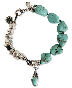Lucky Brand Bracelet, Silver Tone Semi-Precious Turquoise Bracelet:  Crafted from chic silver-tone mixed metal and semi-precious turquoise stones, this bohemian-inspired bracelet from Lucky Brand lends a look that's elegant and easy going. Approximate length: 7-5/8 inches. - Fashion Jewelry - Jewelry & Watches - Macy's