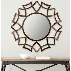 Copper Bronze Sunburst Mirror Safavieh Round Mirrors Home Decor