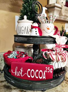 Easy DIY Indoor Christmas Decor and Display Ideas, Ways To Decorate Your Tiered Tray For Christmas, Kitchen Counters, or Fireplace Mantle Decorating, Christmas Decor Noel Christmas, Christmas Crafts, Christmas Coffee, Elegant Christmas, Christmas Ideas, Christmas Tables, Cheap Christmas, Christmas Movies, Homemade Christmas