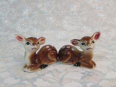 Deer Salt and Pepper Shakers, Vintage Deer Babies Shakers, Doe Salt Pepper Shakers, Reindeer Shakers by BeanzVintiques on Etsy