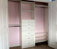 Good framework for the boys' closets, although lets do them in blue!!! We could get rid of dressers in their rooms if we had a system like this.