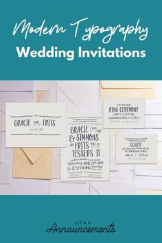 Want to take on a different approach for your wedding invitation? This modern design is perfect for you. It plays on typography to provide a unique design for each couple. Wedding Invitation Trends, Typography Wedding Invitations, Simple Wedding Invitations, Modern Typography, Plays, Announcement, Modern Design, Reception, Couple