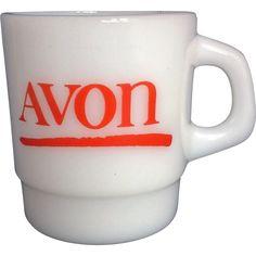 Avon Red Logo Milk Glass Mug Galaxy