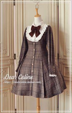 DC Caroline's winter classic eight-piece cut plaid wool trench coat / dress / lolita spot Victorian Era Fashion, Gothic Lolita Fashion, Kawaii Dress, Kawaii Clothes, Mode Lolita, Girl Fashion, Fashion Dresses, Kids Frocks, Cute Outfits